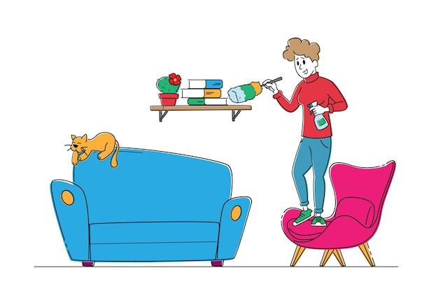 Huisvrouw karakter schoonmaak boekenplank met stofdoek en watersproeier