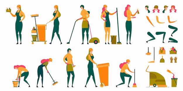 Huisvrouw, meid vrouw, schoonmaakster tekenset