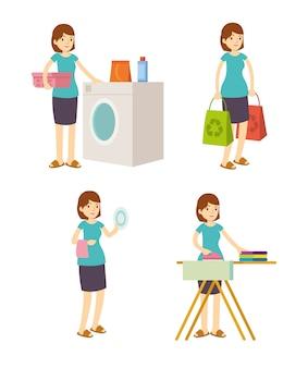 Huisvrouw moeder wast, ijzer, winkelen en schoonmaken