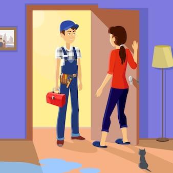 Huisvrouw ontmoet meester-reparateur