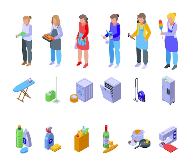 Huisvrouw pictogrammen instellen isometrische vector. vrouw huishoudster. schoonmaakster