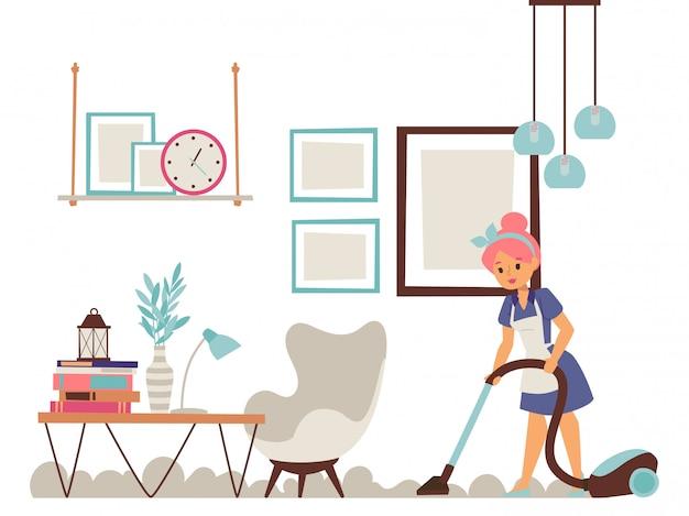 Huisvrouw schoonmaak appartement, vrouw met stofzuiger doet dagelijkse huishoudelijke taken,