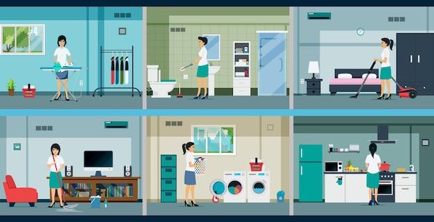 Huisvrouwen werken in veel verschillende kamers