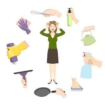 Huisvrouwenvrouwenstress door dagelijkse huislast en problemen.
