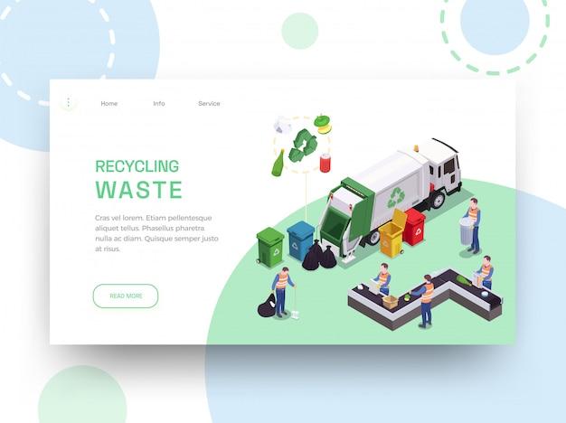 Huisvuilafval die het isometrische ontwerp van de website landende pagina recycleren met links bewerkbare teksten en schoonmakende beelden vectorillustratie