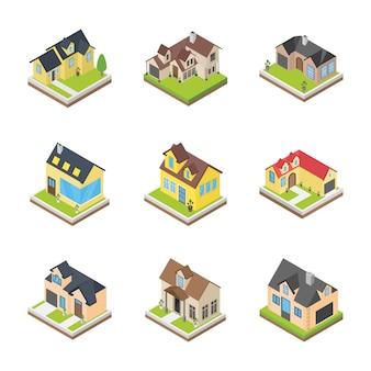 Huizen architecturen pictogrammen
