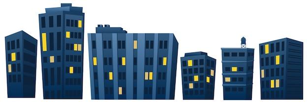 Huizen en appartementen 's nachts