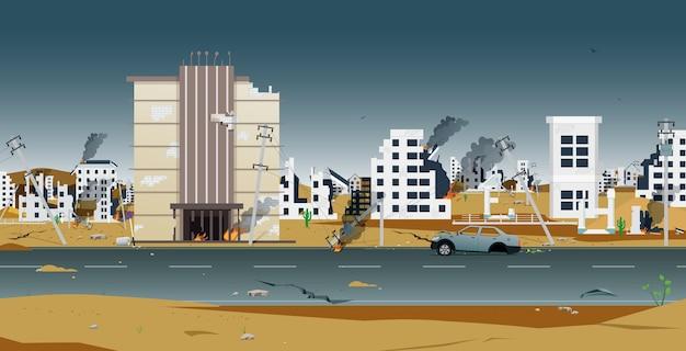 Huizen en gebouwen in de stad werden door oorlog verwoest
