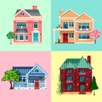 Huizen en woongebouwen, onroerend goed vector. eengezinswoning en herenhuizen, herenhuisvilla's, privébezit in de stad en stadsarchitectuur.