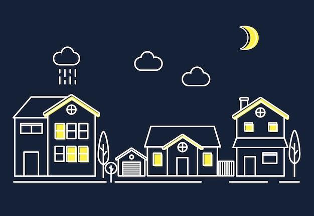 Huizen in de nacht