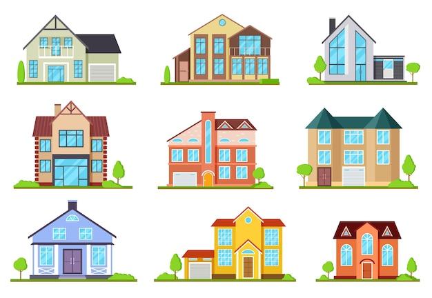 Huizen in de voorsteden. eengezinswoning, dorpshuis. buiten architectonische elementen, moderne gebouwen exterieur. set huis cottage, residentiële illustratie in de voorsteden