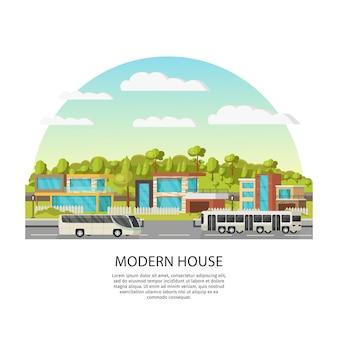 Huizen in de voorsteden sjabloon