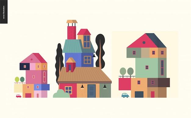 Huizen kleurrijke compositie