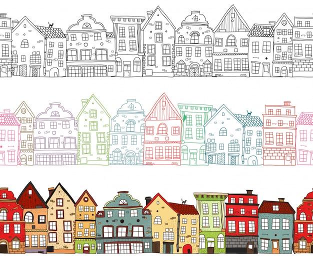 Huizen naadloze composities