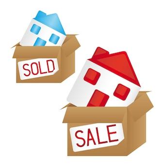 Huizen over box verkoop en verkocht conceptuele vector illustratie