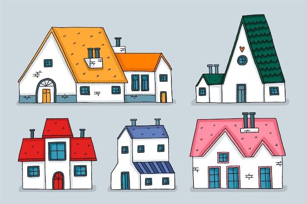Huizen plat ontwerp illustraties pack