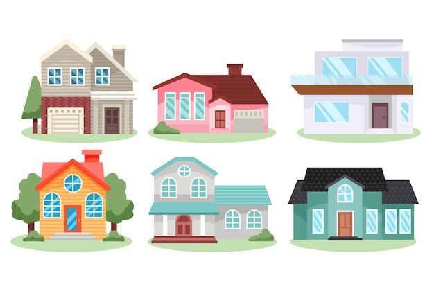 Huizen platte ontwerp illustratie collectie