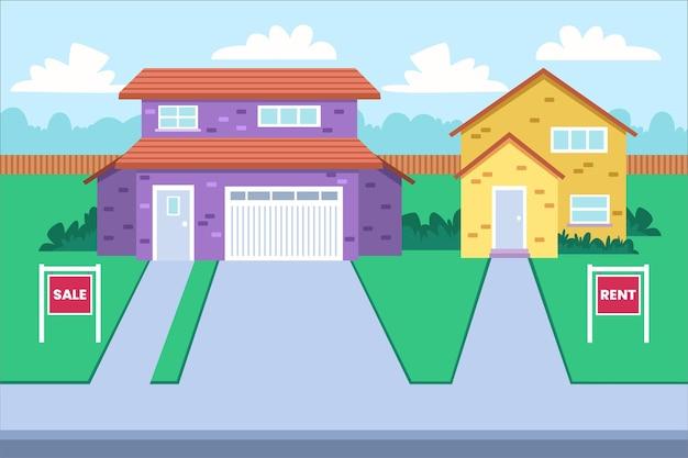 Huizen te koop en te huur illustratie
