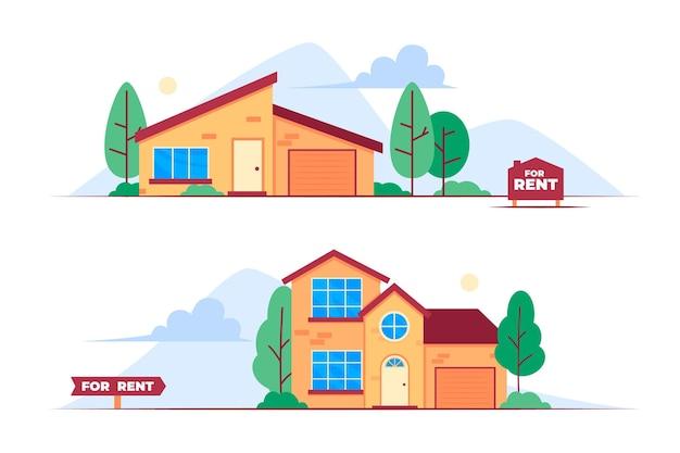 Huizen te koop en te huur platte ontwerp illustratie