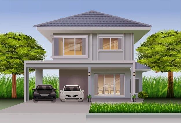 Huizen vooraanzicht met bomen en auto's