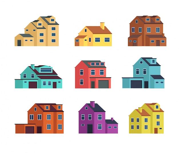 Huizen vooraanzicht. stedelijke en voorsteden huis, stadsgebouwen en cottage woningen