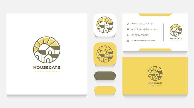 Huizencomplex met sun logo-sjabloon en visitekaartje