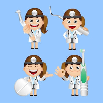 Hulp assistent avatar zorg cartoon check schone kliniek concept tandheelkundige tandarts tandheelkunde do