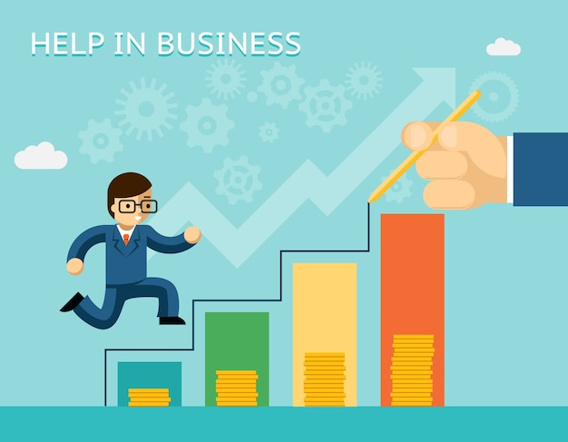 Hulp bij bedrijfsconcept. partnerschappen en mentoring. mentor en succes, advies en partner