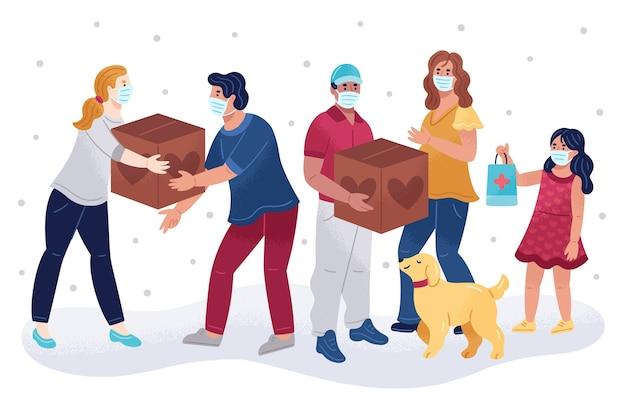 Hulp bij humanitaire donaties en assistentie van honden