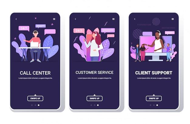 Hulplijn exploitanten met headset technische klantondersteuning klantenservice call center concept telefoon schermen collectie mobiele app portret kopie ruimte horizontaal