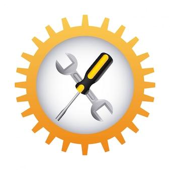 Hulpmiddelen die over witte vectorillustratie als achtergrond ontwerpen