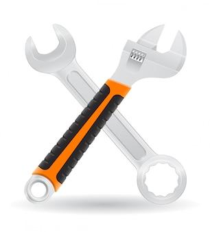 Hulpmiddelen moersleutel en schroef moersleutel vectorillustratie