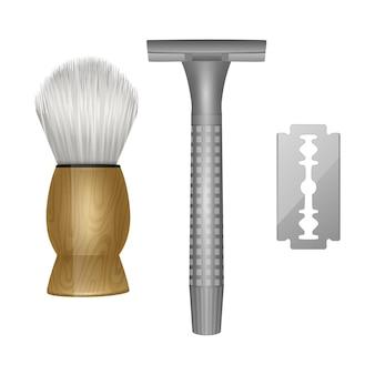 Hulpmiddelen voor het knippen van baardkapper, vintage kapperhulpmiddelen, scheermes en scheerkwast