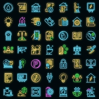 Hulpprogramma's pictogrammen instellen. overzicht set hulpprogramma's vector pictogrammen neon kleur op zwart