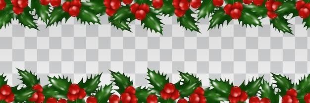 Hulst bessen grens geïsoleerd. kerst decoratie