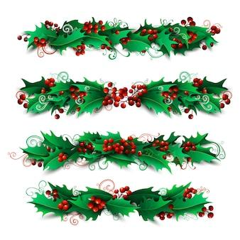 Hulst bessen pagina decoraties en verdelers instellen. kerst ontwerpelementen geïsoleerd op een witte achtergrond.