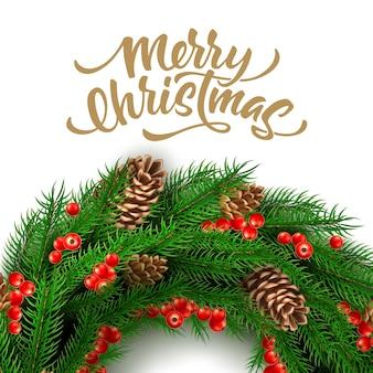 Hulst rode bes of dennentakken in cirkel voor kerstmis
