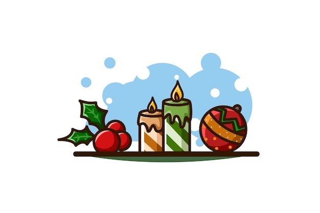 Hulstbladeren, kaarsen en bal, kerstmispictogram