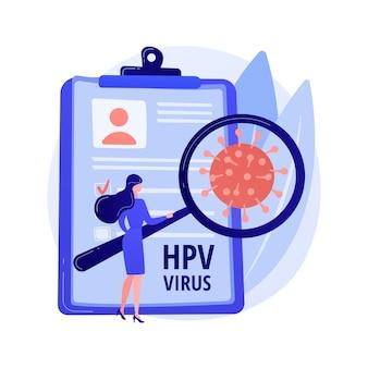 Humaan papillomavirus hpv abstract concept vectorillustratie. hpv-infectie ontwikkeling, huid-op-huid virale infectie, humaan papillomavirus, baarmoederhalskanker vroege diagnostiek abstracte metafoor.