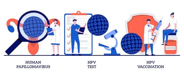 Humaan papillomavirus, hpv-test en vaccinatieconcept met kleine mensen. hpv-infectieset. vroege diagnostiek van baarmoederhalskanker, laboratoriummonster, metafoor voor virusscreening.