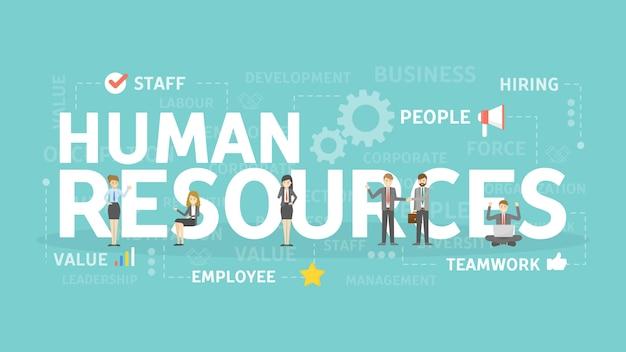 Human resources concept illustratie. idee om nieuw personeel te vinden.