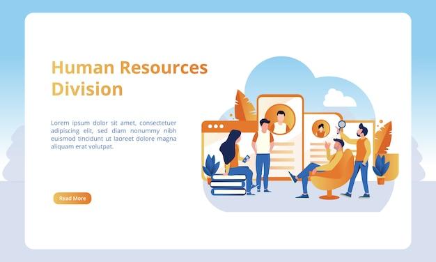 Human resources-divisie voor bestemmingspagina's met zakelijke of kantoorthema's