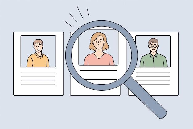 Human resources en huren concept. profielen van kandidaten met foto's en cv online en vergrootglas naar één geselecteerde kandidaat voor vacature vectorillustratie