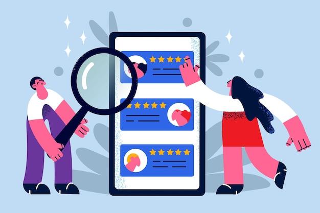 Human resources en online jachtconcept. jonge vrouw en man managers jagers staan met vergrootglas kijken naar werknemers ratings kiezen vectorillustratie