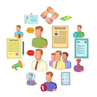 Human resources iconen set, vlakke stijl