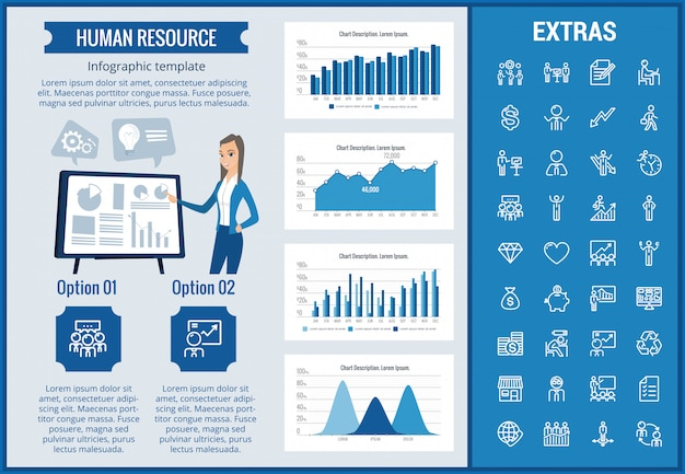 Human resources infographic sjabloon en elementen