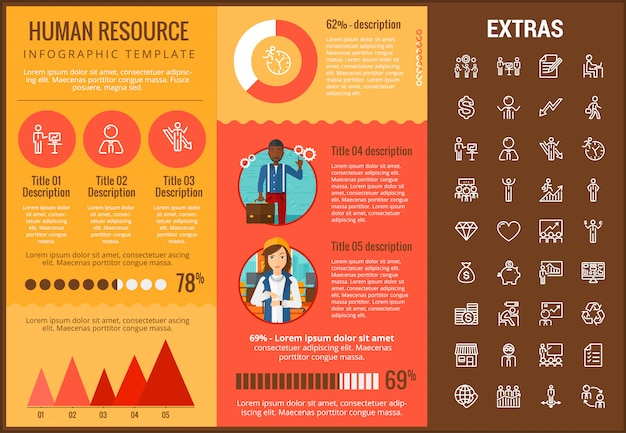 Human resources infographic sjabloon en pictogrammen instellen