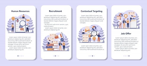 Human resources mobiele applicatie banner set. idee van rekrutering