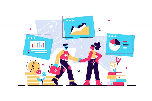 Human resources, recruitment concept illustratie, interviewen, assessment, recruitmentbureau. aanwervende werknemer. \ n