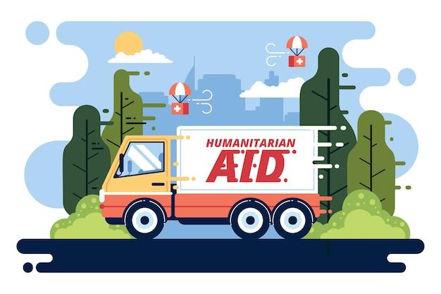 Humanitair hulpconcept met vrachtwagen voor hulp